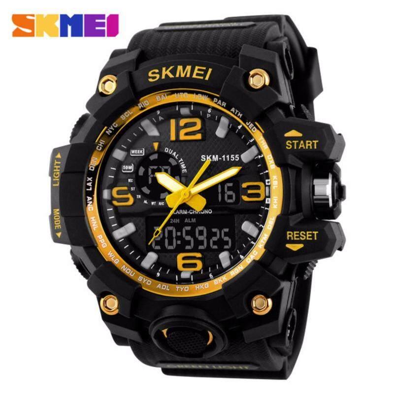 [100%   Genuine]SKMEI 1155 Fashion Men Digital LED Display Sport Watches Quartz Watch 50M Waterproof Dual Display Wristwatches Malaysia