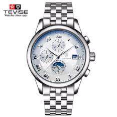 [100% Genuine]TEVISE Mens Watches top brand luxury Famous Watches Automatic Mechanical Watches Men Sport Military Luxury Moon Phase Mens Stainless Steel Luminous Calendar Wristwatches Malaysia
