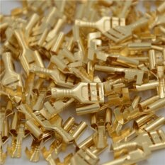 Orange Sunshine 100 X 6.3mm Gold Brass Car Speaker Female Spade Terminal Wire Connector By Orange Sunshine.