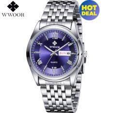 [100%Genuine]WWOOR Luxury Brand Mens Watch Mens Stainless Steel Sports Watch Mens Quartz Date Luminous Clock Watch Malaysia