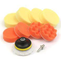 10pcs 3 Polishing Pad + Hand Buffer Set With Drill Adapter For Car Polish Buffing By Sillyshuai.