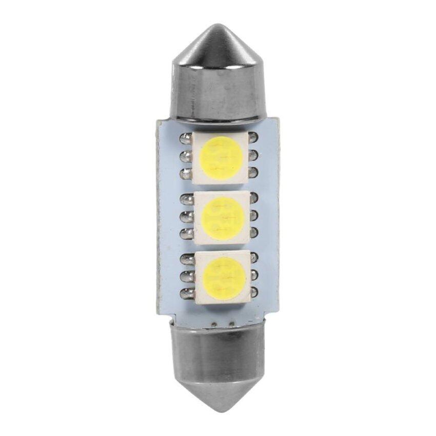 10PCS 36MM 12V 3 SMD 5050 LED Festoon Dome Car Light Bulbs Interior Lamp(White)