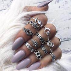 11pcs/set Women Bohemian Vintage Silver Stack Rings Above Knuckle Blue Rings Set By Joomia.