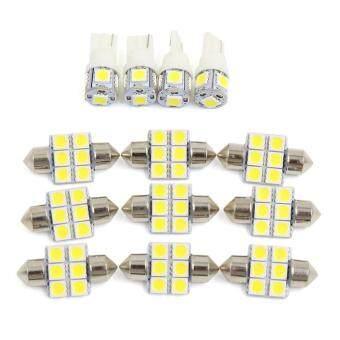 Price Checker OS 13 Pcs Putih Kubah Mobil Pembaca Peta LED Lampu Interior (4 Pcs T10-5 + 9 Pcs 31mm-6) pencari harga - Hanya Rp67.118