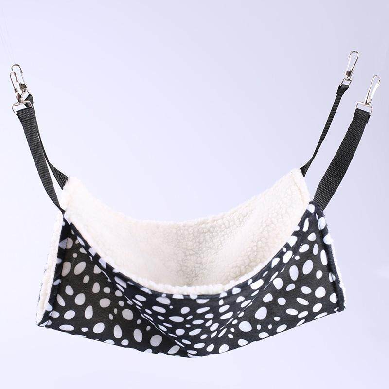 "14""x 14""Breathable Pet Cat Nest Double-sided Usable Hanging Cat Hammock in Iron Cage, Pet Supplies Specification:Medium 35*35 Style:Black and white dots"
