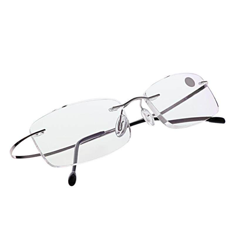 Mua +1.50 Ultralight Titanium Rimless Rectangular Glasses Spectacles Eyeglass Frame Eyewear(Silver) - intl