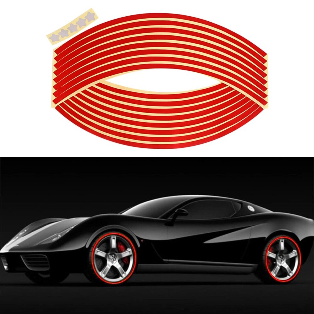16 Pcs 18 Inch Reflective Car Motorcycle Rim Sticker Motorcycle Car Wheel Tire Sticker Reflective Rim Tape Decal Decor Red Color By Magicriver Store.