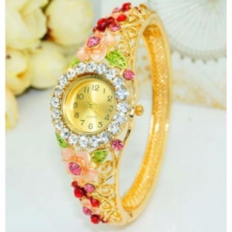 18K Gold Plated Women Wristwatch Bangle Cuff quartz watch relogio feminino Malaysia