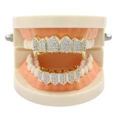18 k Vàng w/Mạ Bạc & Đáy Khuôn Răng Miệng Răng Vỉ Nướng Cao cấp # glod-quốc tế