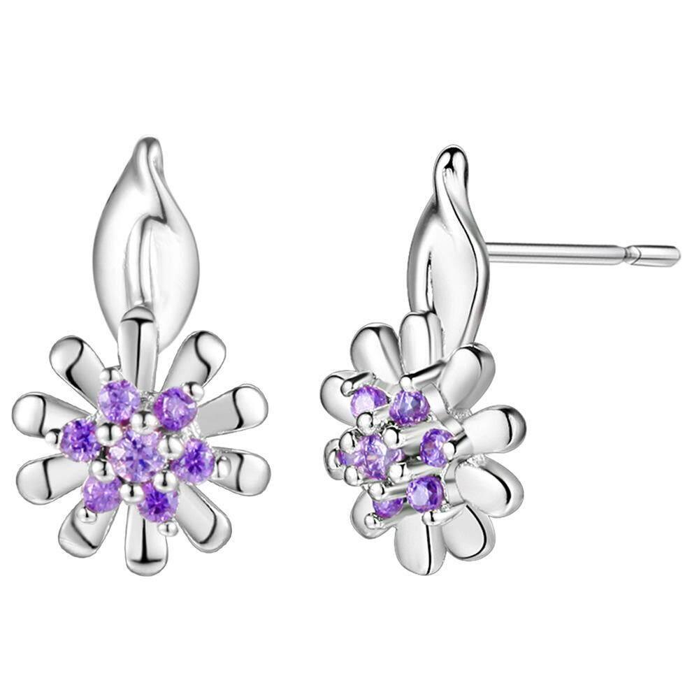 【Xydirect-Fashion】18k Anting-anting Bunga Matahari Anting-Anting Putih Wanita