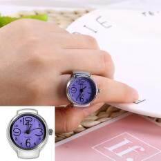 1PC Fashionable Women Men Quartz Analog Round Finger Ring Love Watch(Purple) Malaysia