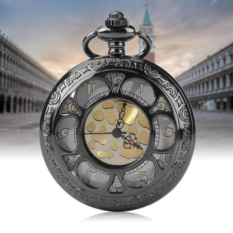1pc Quartz Movement Analog Classical Hollowed Round Pocket Watch With Chain Malaysia