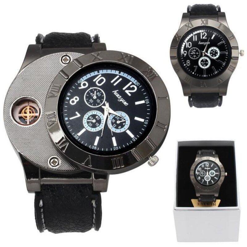 1PC Windproof Casual Military Quartz Watch USB Cigarette Cigar  Black Flameless Lighter Malaysia