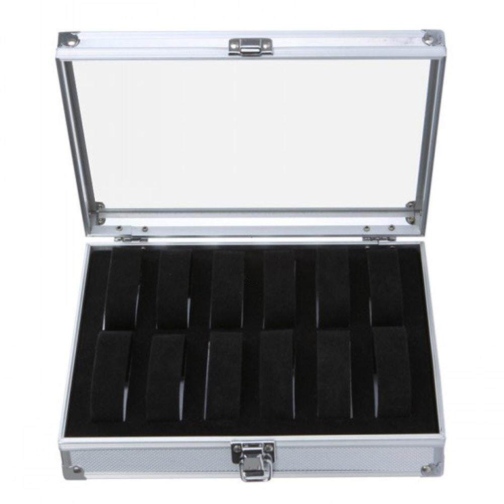 Latest 1X 12 Grid Wrist Watch Display Case Collection Organizer Box Holder Aluminium Intl