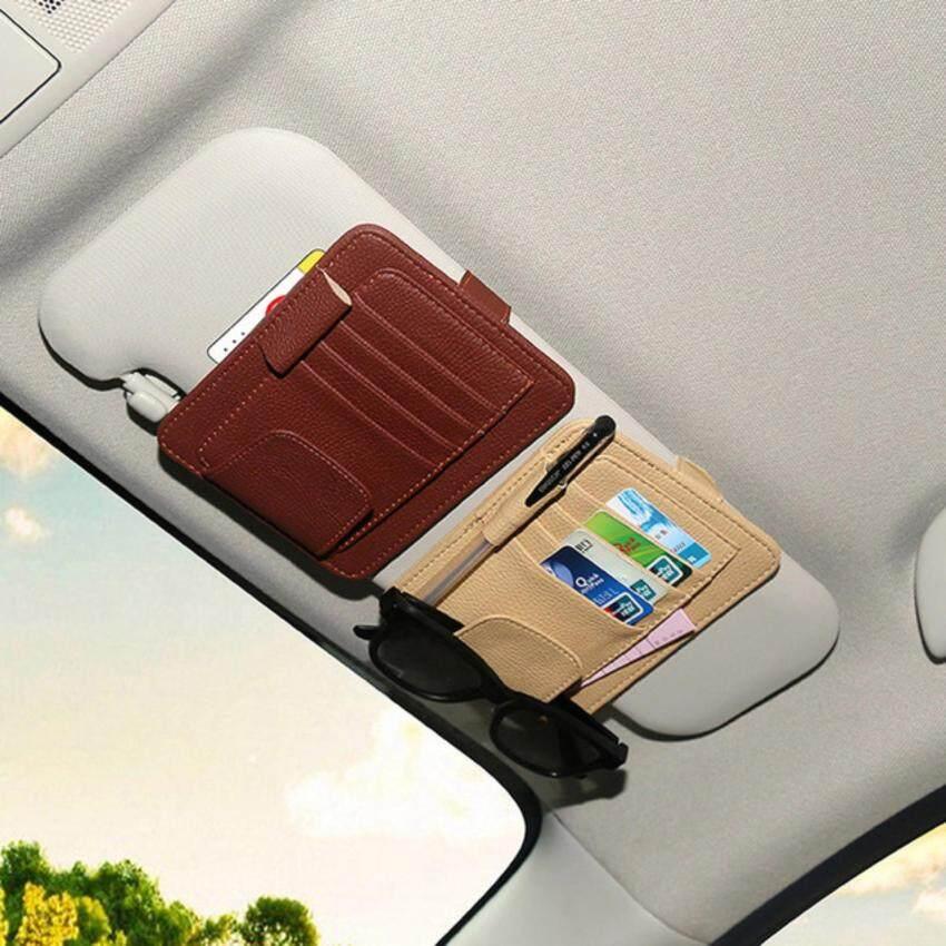 1x PU Leather Car Sun Visor Pocket Organizer Pouch Bag Card Pen Glasses Storage Holder Car Interior Accessories