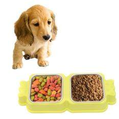 2 In 1 Stainless Steel Bowls, Anti-Slippery Mat Candy Square Shape Bowl, Detachable Pets Bowls(light Green) By Addfun.