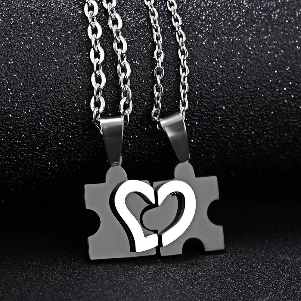6427fcb040 2 PCS 316L Stainless Steel Couples Necklace Heart Shaped Puzzle Pendant  Necklaces for His Her -