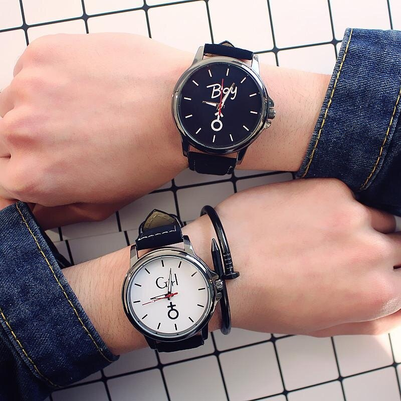 2 Pcs Couple Mes Women Watch Simple Quartz Analog Watch Leather Band Wrist Watches Gift Malaysia