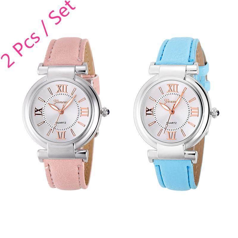 2 Pcs /set Geneva Womens Fashion Waterproof Quartz Watch Ladies Casual Leather Band Watch (Pink and Light Blue) Malaysia