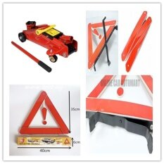 2 Ton Hydraulic Floor Jack With Early Warning Road Safety Triangle Kit, Reflective,auto Emergency Warning Triangle Foldable Reflective Safety Sign Roadside Hazard Symbol By Online Car Accessories.