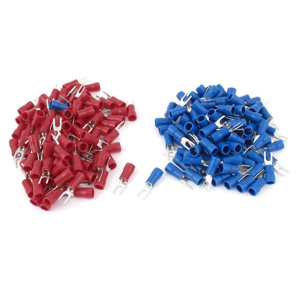 200 ชิ้น 16-14 Awg สายสีแดงสีแดงปลั๊กฉนวนขั้วต่อส้อม 4 - นานาชาติ By Superbuy666.