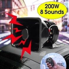 200 W 8 Suara Keras Mobil Alarm Peringatan Klakson Sirine Polisi Speaker PA MIC Sistem