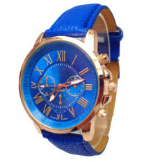 2015 Women Stylish Geneva Numerals Faux Leather Analog Quartz Wrist Watch Blue Malaysia