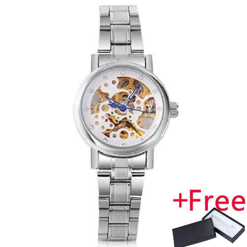 2016 WINNER Watch Jam Tangan es women lady fashion brand rhinestone skeleton automatic mechanical wrist Watch Jam Tangan full gold steel female clock - intl