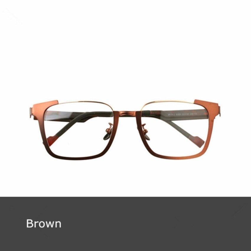 356d54e37 2017 Brand New Optical Glasses Frame Full Rim Metal EyeglassFramesUnisex  Large Face Myopia Eyewear 8309 Brown