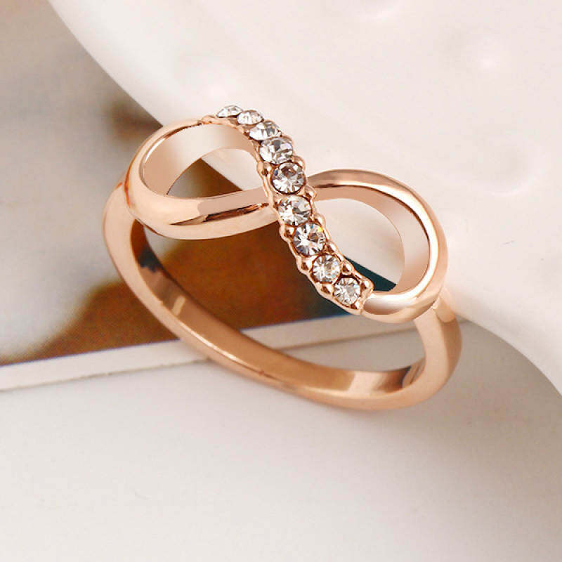 FF8866YY 2017 Penjualan Terlaris Fashion Alloy Cincin Kristal Perhiasan Emas Grosir Perhiasan Tak Terbatas Wanita Warna