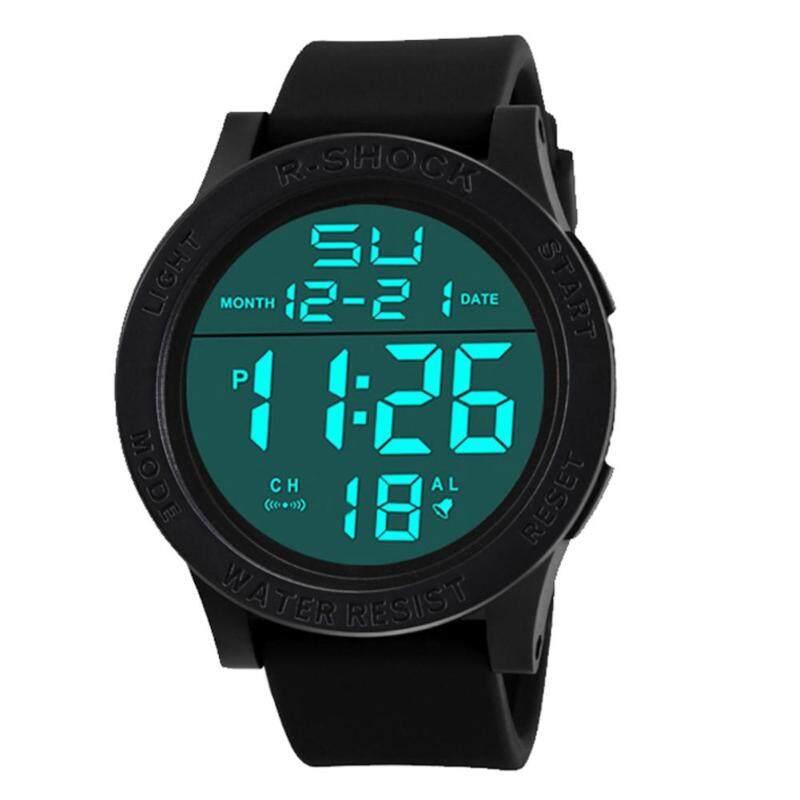 2017 Men Chic Wrist Waterproof Electronic Date Rubber Sport Watch(Black) Malaysia