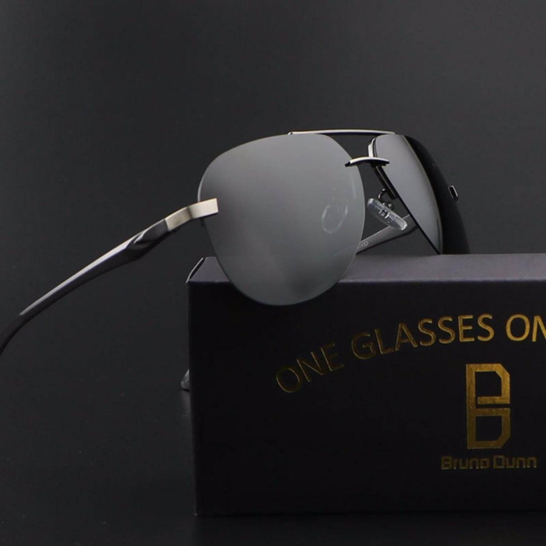 Bruno Dunn 2017 Mode Terkini Pria Wanita Kacamata Hitam Terpolarisasi Titanium Asli Mens Sun Kacamata Merk Desainer Aviator Kacamata 143 (Abu-abu bingkai Hitam Lensa) -Intl