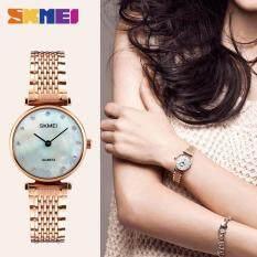 2017 New Fashion Women Quartz Watches Girls Wristwatches Casual Rhinestones Waterproof SKMEI Watch 1223 - Rose Gold Shell Malaysia