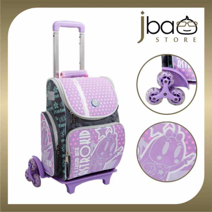 2018 astrokid 6 wheels trolley kid school bag astrokids. Black Bedroom Furniture Sets. Home Design Ideas