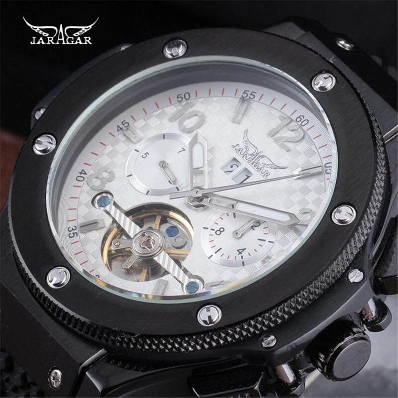 2018 JARAGAR Men Luxury Brand Black Rubber Sport Clock Tourbillion Automatic Mechanical Wristwatch Gift Army Skeleton Watches Malaysia