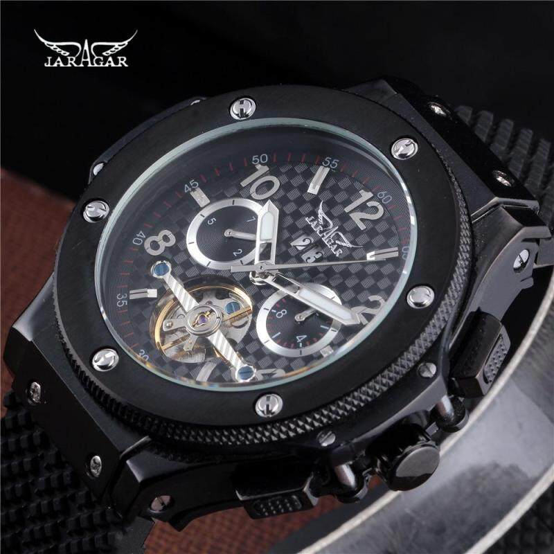 2018 JARAGAR Men Luxury Brand Watch Black Rubber Sport Tourbillion Automatic Mechanical Wristwatch Gift Clock Relogio Releges Malaysia