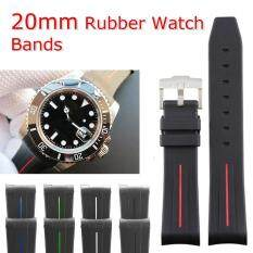 20mm rubber curved ends watch strap for Rolex