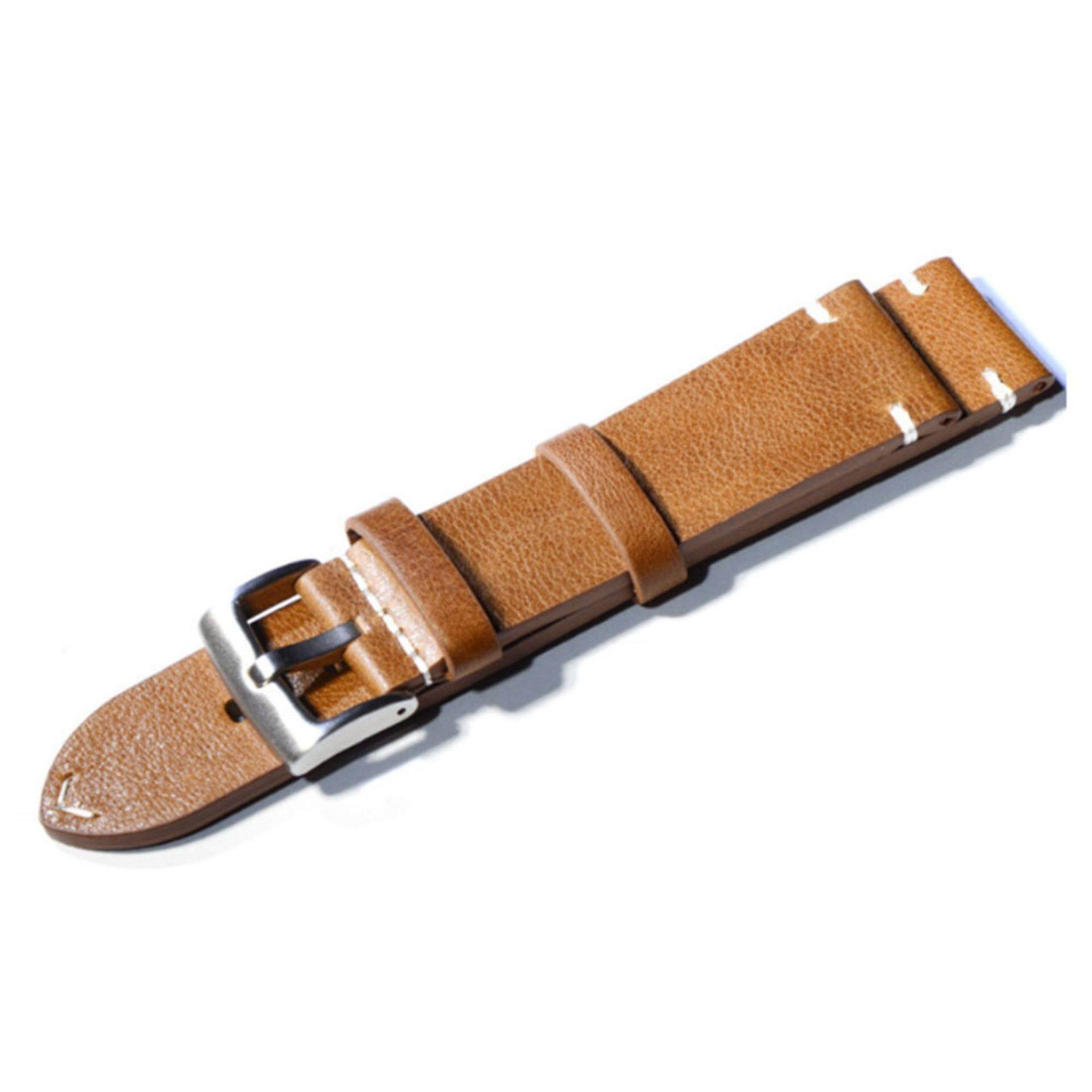 HUA SI HAI-  20mm Watch Bands Wristwatch Straps Wrist Watch Band Strap Belt Nubuck Genuine Leather Replacement Bracelet Watch Band Strap with Stainless Steel Buckle Brown Malaysia