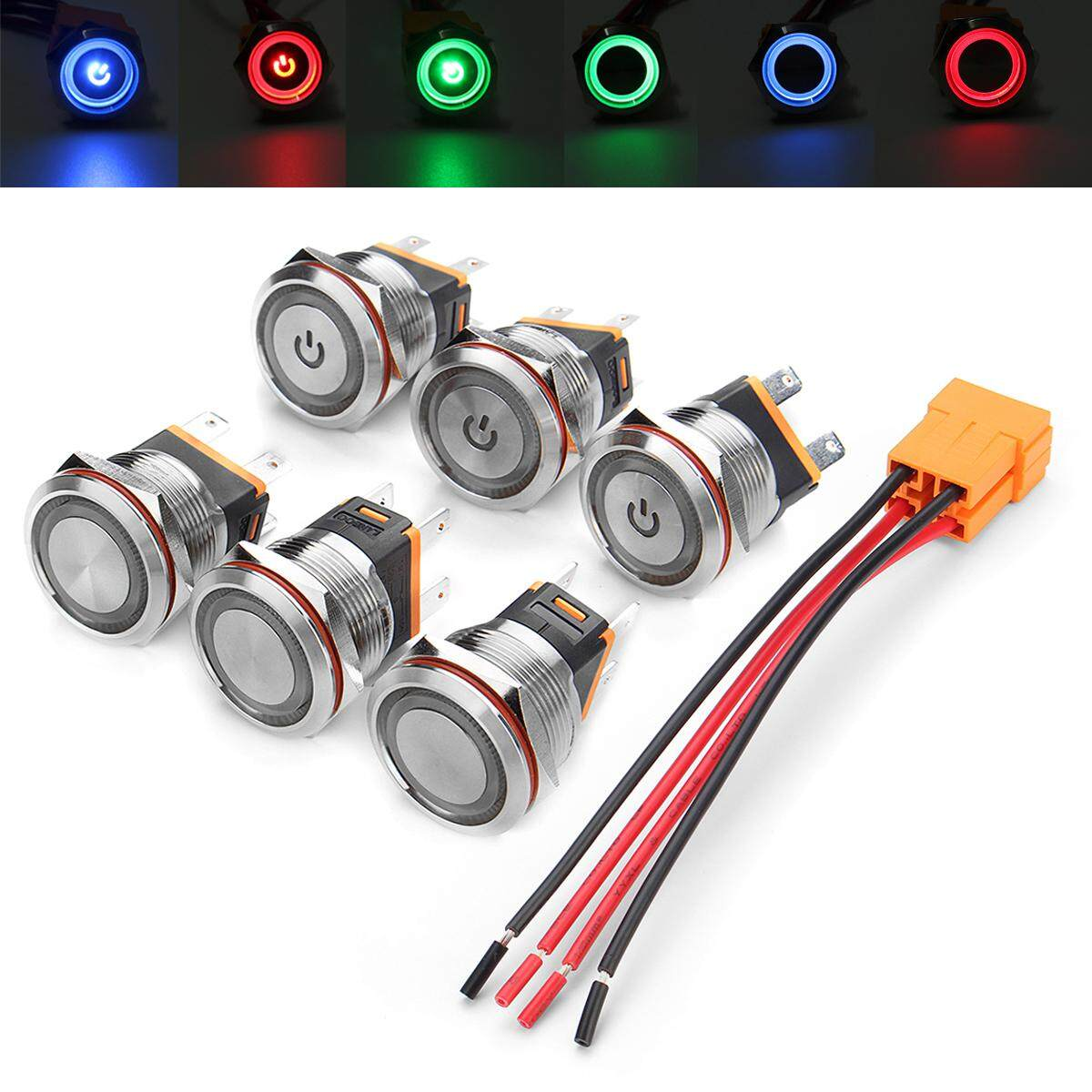 Car Switches For Sale Auto Online Brands Prices 1997 Nissan Pathfinder Ignition Switch Wiring 1991 22mm 12v 24v Chrome Metal Latching Angel Halo Illuminated Led Socket Lead Intl