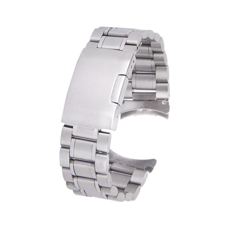 22mm Stainless Steel Solid Links Bracelet Watch Band Strap Curved End with 4pcs Watch Pins Spring Bars (Silver) Malaysia