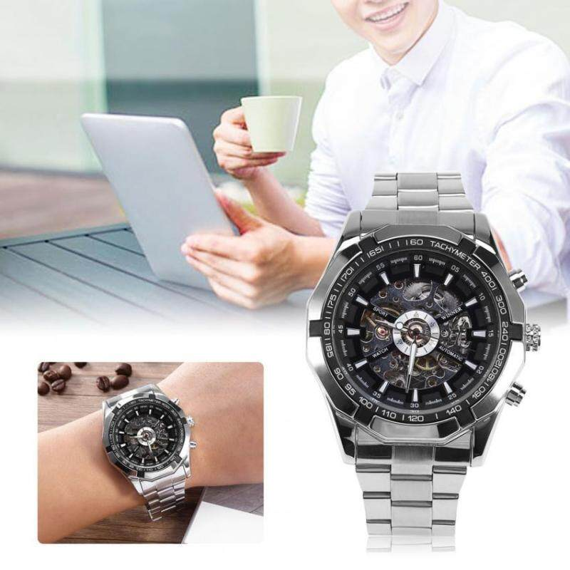2Colors Winner Male Automatic Mechanical Watch Hollowed Stainless Steel Band Wristwatch Malaysia