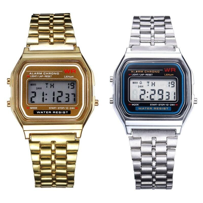 2PC Gold & Silver Stainless Steel Digital Alarm Stopwatch Wrist Watch Gift Malaysia