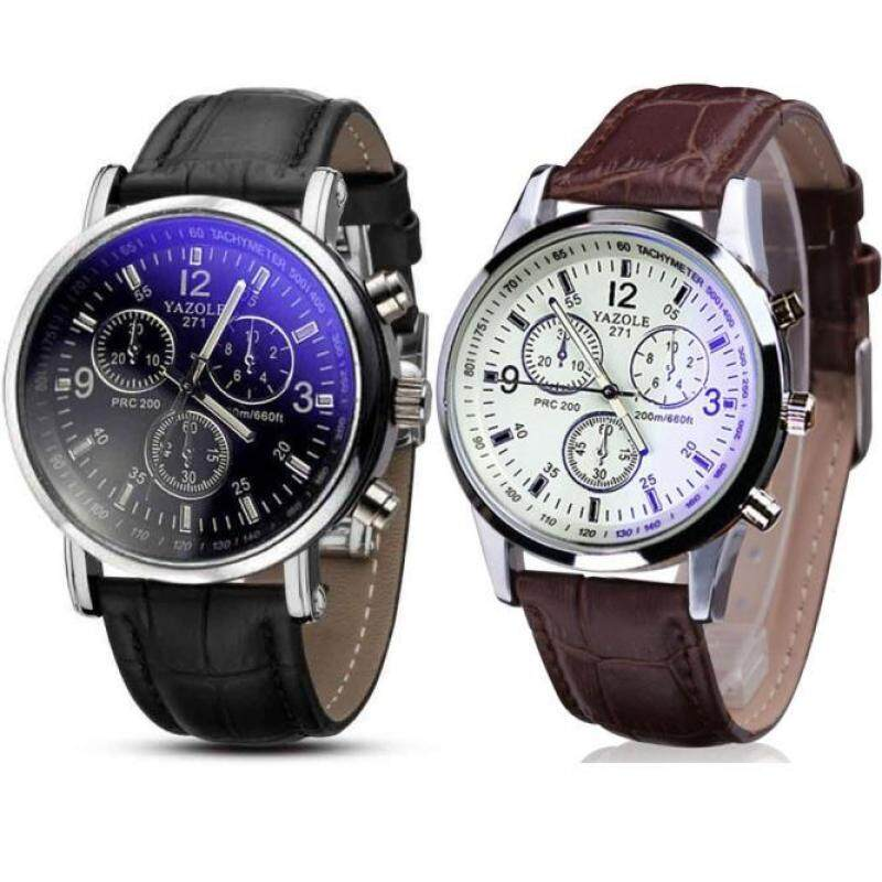 2PC Luxury Fashion Faux Leather Mens Blue Ray Glass Quartz Analog Watches Malaysia
