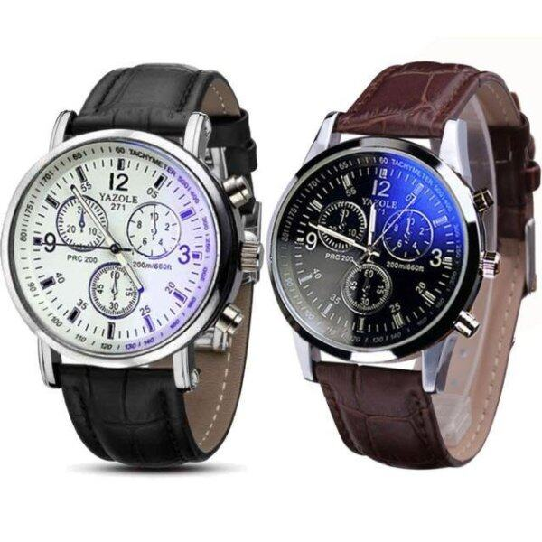 Ulamore 2PC Luxury Fashion Faux Leather Mens Quartz Analog Watch Watches Black,Brown Malaysia
