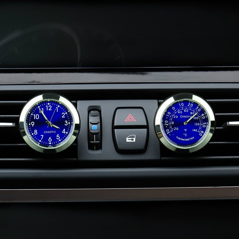 2Pcs Car Thermometer Luminous Material Car Clock Car Electronic Watch Car Air Conditioning Outlet Perfume Ornaments Blue Intl Free Shipping