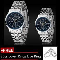 2pcs Couples Watches Steel Strip Quartz Lover Watch Gift + 2pcs Free Lover Rings Live Ring - Blue By Zikuf.