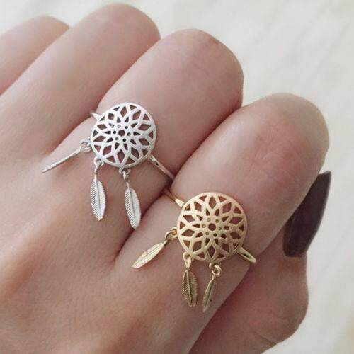 2PCS Dreamcatcher Rings Feather Charm Pendant Dream Catcher Adjustable - intl