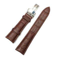 2PCS Genuine Leather Stainless Steel Butterfly Clasp Buckle Watch Band Strap Brown 22mm Malaysia