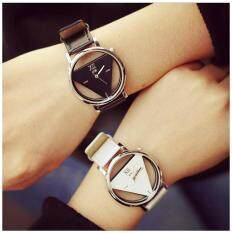 2pcs jis Hollow Out Mens Womens Couple Triangle Quartz Watches Valentines Day Memory GiftBlack White Malaysia
