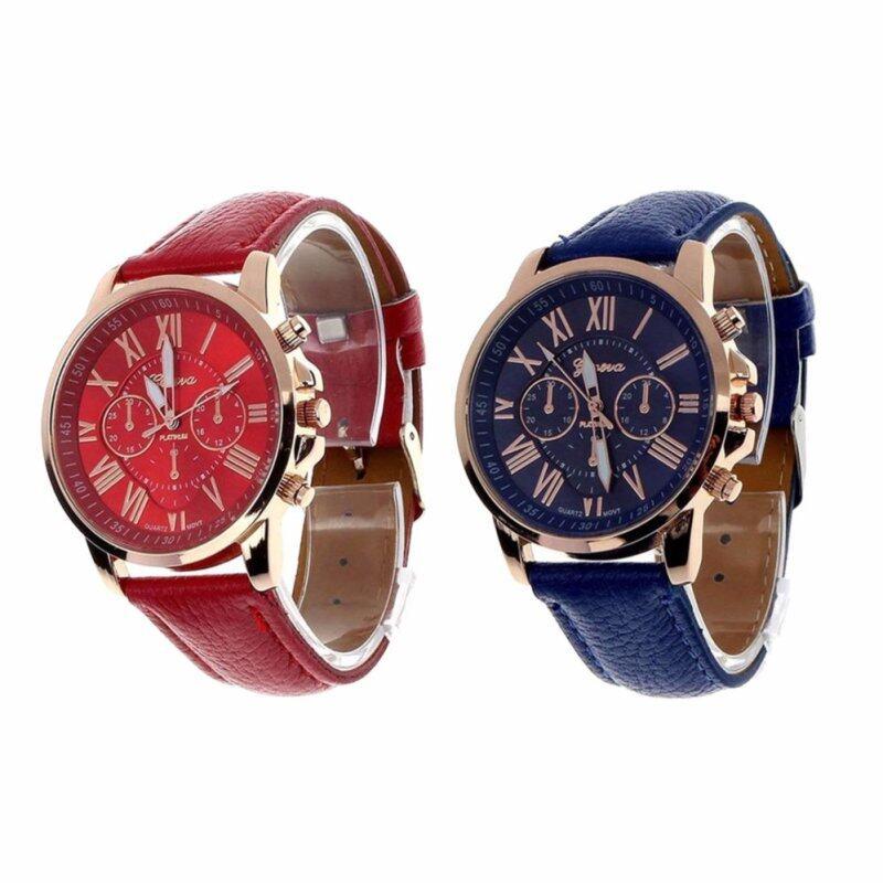 2Pcs/set Geneva Womens Fashion Roman Numerals Faux Leather Analog Quartz Wrist Watch Red and Blue Malaysia
